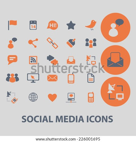 social media, blog, community icons, signs, illustrations, vector, set - stock vector