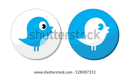 Social media blue bird vector labels - stock vector