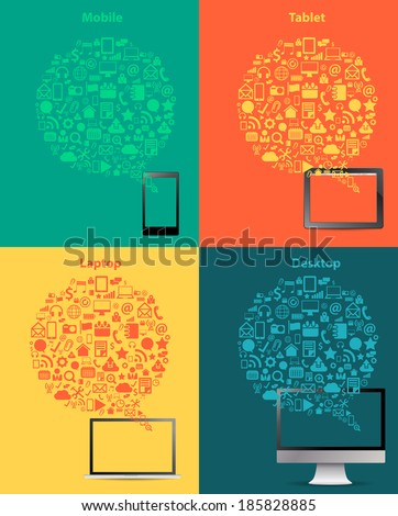 Social media business innovation technology concept design, Creative communication networking information data process diagram speech bubble design, Vector illustration modern layout template - stock vector