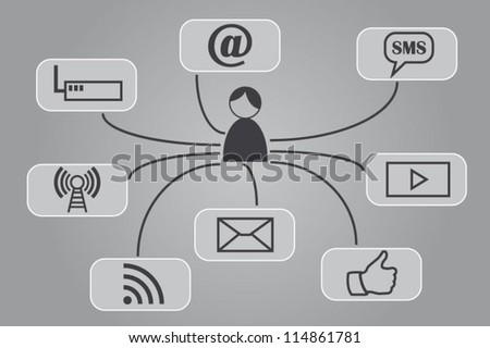 Social media buttons concept - stock vector