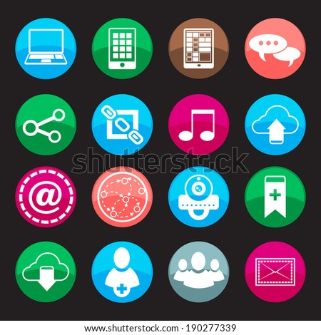 Social media buttons icons set with web blog communication symbols isolated vector illustration - stock vector