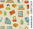 Social media cartoon icons colorful seamless pattern .Vector file layered for easy manipulation and custom coloring. - stock