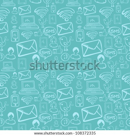 Social media cartoon icons seamless pattern over sky blue background. Vector file layered for easy manipulation and custom coloring. - stock vector
