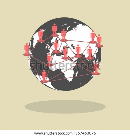 Social Media Circles concept, Network Illustration, Vector, Icon - stock vector