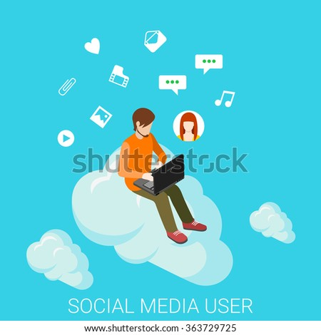 Social media cloud chat flat 3d isometry isometric online internet technology share post data communication concept web vector illustration. Young man sitting on cloud chat. Creative people collection - stock vector