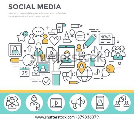 Social media, communication concept illustration, thin line flat design - stock vector
