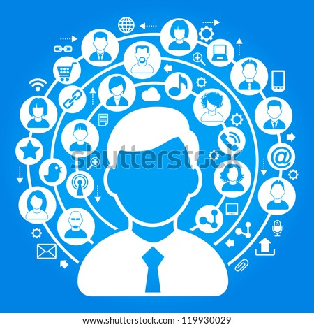 social media, communication in the global computer networks. - stock vector