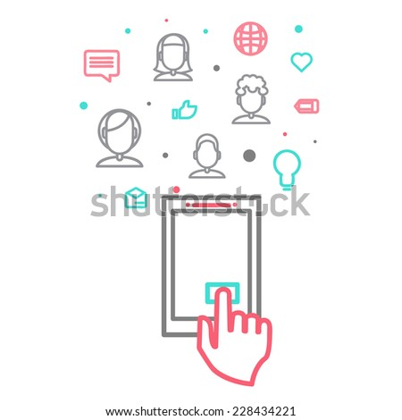 social media, communication in the global computer networks vector illustration eps 10