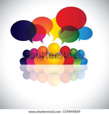 social media communication or office staff meeting or kids talking. The vector also represents people conference, social media interaction & engagement, children, employee discussions, leadership - stock vector