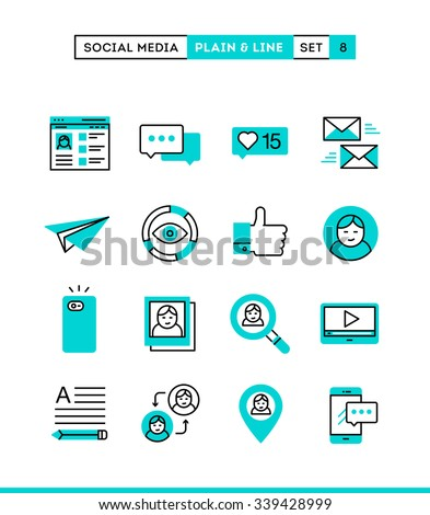 Social media, communication, personal profile, online posting and more. Plain and line icons set, flat design, vector illustration - stock vector