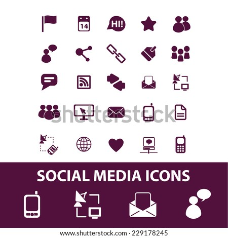 social media, community, blog isolated icons, signs, illustrations, vectors set on white background - stock vector