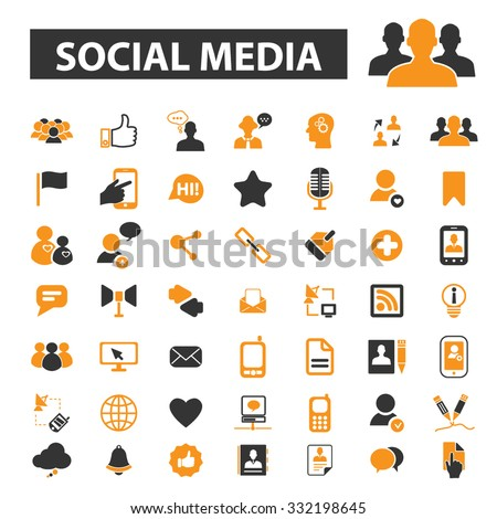 social media, community, people connect icon & sign concept vector set for infographics, website - stock vector