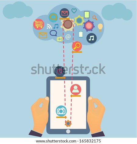 Social Media Computer Technology design with multimedia icons set and Tablet PC screen in hands in vector - stock vector