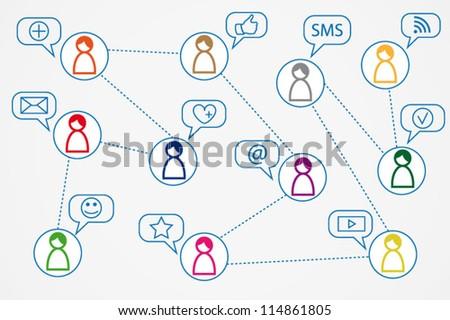 Social media concept illustration background - stock vector