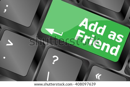 Social media concept: Keyboard with Add As Friend button. Keyboard keys icon button vector. keyboard keys, keyboard button, keyboard icon - stock vector