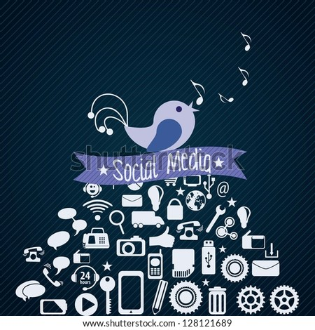 Social Media concept with bird (icons set), on dark  background.