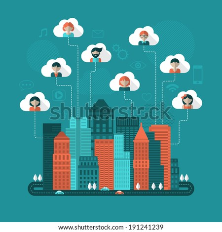 Social media concept with flat icons. Vector illustration - stock vector