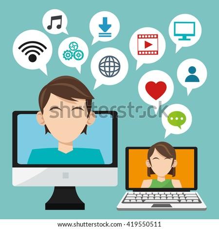 Social media design. Networking icon. Technology concept - stock vector