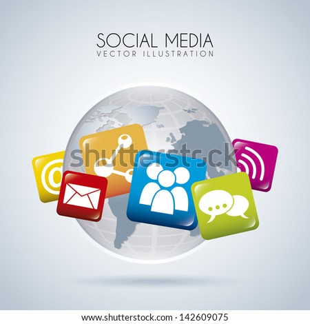 social media design over gray background vector illustration - stock vector