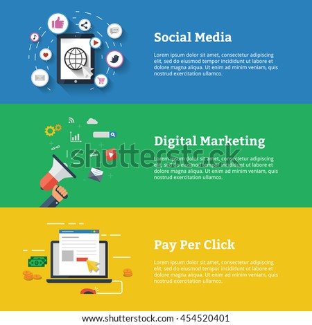 Set Of Flat Design Ilration S For And Digital Marketing Banner