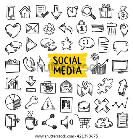Social media doodle icons. Hand drawn social media symbols. Office and business sketch icons