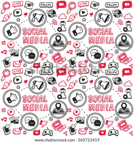 Social media doodle, megaphone, map, chatting bubble, joystick, mobile phone, laptop, cloud etc - stock vector