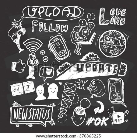 social media doodle on chalkboard background - stock vector