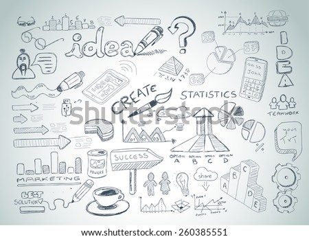 Social Media doodles Sketch set with infographics elements isolated, vector shapes. It include lots of icons included graphs, stats, devices,laptops, clouds, concepts and so on. - stock vector