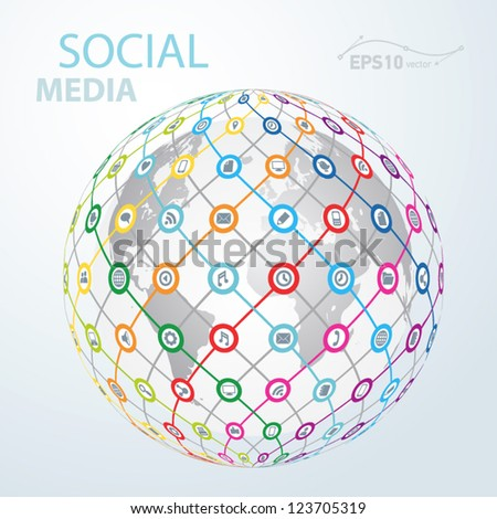 social media element icon globe worldwide / vector - stock vector