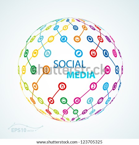 social media element icon sheme globe worldwide / vector - stock vector