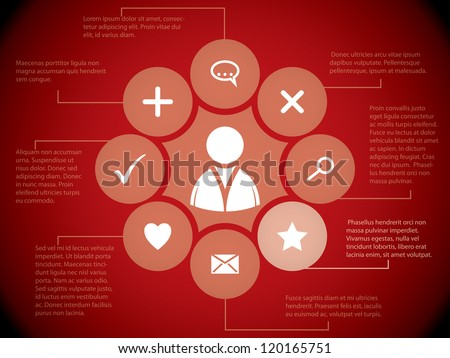 Social media elements and relations on red background - stock vector