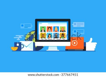 Social media. Flat design modern vector illustration concept. - stock vector