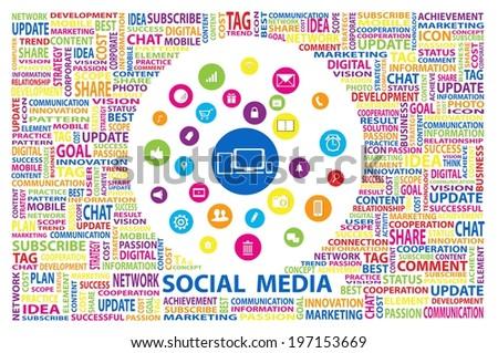 Social Media for marketing online concept - stock vector