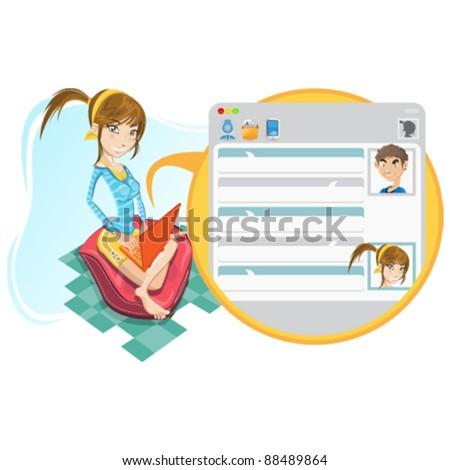 Social Media Girl Chatting - stock vector