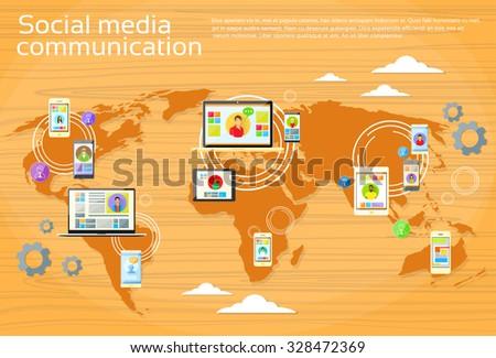 Social Media Global Communication People World Map Digital Device Tablet Computer Laptop Phone Concept Flat Vector Illustration - stock vector
