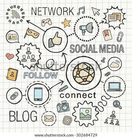 Social media hand draw integrated color icons set. Vector sketch infographic illustration. Line connected doodle hatch pictograms on paper: marketing, network, share, technology, community concepts