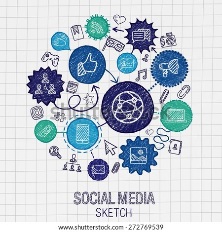 Social media hand drawing hatch icons. Vector doodle integrated pictogram set. Sketch infographic illustration on paper: internet, digital, market, media, connect, technology, global connect concept - stock vector