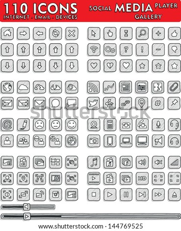 Social Media Hand-Drawn Icons - 110 Icons Set - vector icons and buttons useful in any web and media application design.   - stock vector