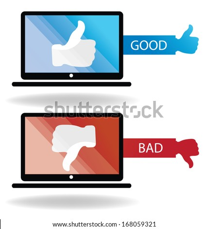 Social media. Hand signs vector. Good and bad concept. - stock vector