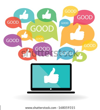 Social media. Hand signs vector. Good concept. - stock vector