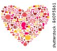 Social media heart shape made with isolated icons - stock vector