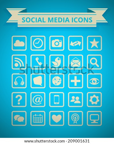 Social Media Icon Grid - stock vector