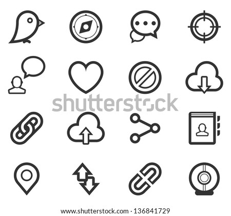 Social Media Icon Set - stock vector