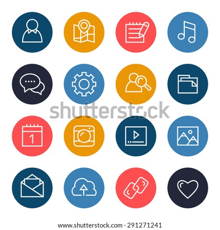 Social media icon set - stock vector