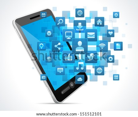 Social media icons and mobile phone vector background