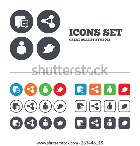 Social media icons. Chat speech bubble and Share link symbols. Bird sign. Human person profile. Web buttons set. Circles and squares templates. Vector  - stock vector