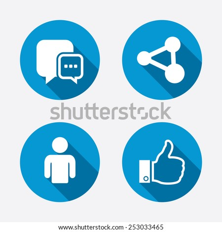 Social media icons. Chat speech bubble and Share link symbols. Like thumb up finger sign. Human person profile. Circle concept web buttons. Vector - stock vector