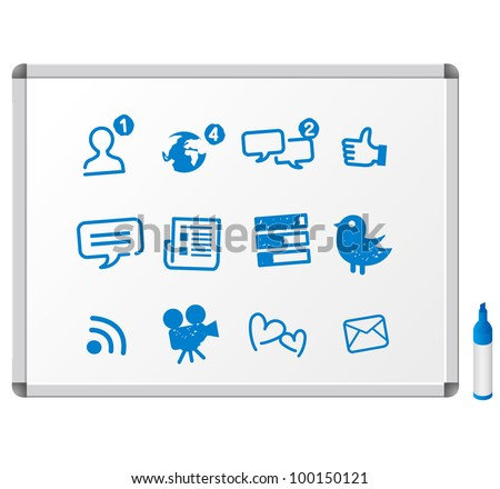 Social Media icons drawing sketch - stock vector