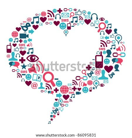 Social media icons in bubble shape with a heart inside. - stock vector