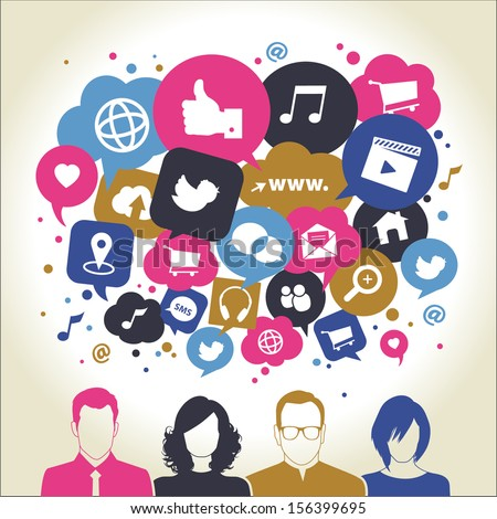 Social media icons in speech bubbles with group of people - stock vector
